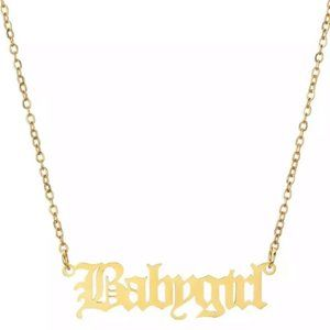 Baby Girl Necklace Old English Letter Necklaces925